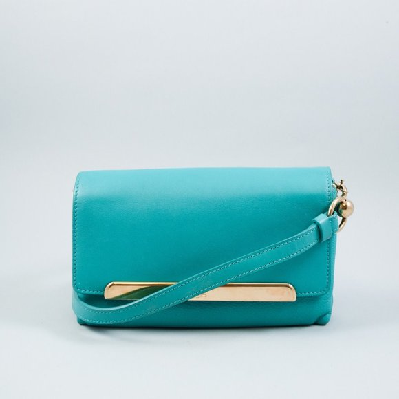 CHRISTIAN LOUBOUTIN GREEN LEATHER FLAP CROSSBODY